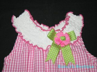 "New ""Pink Gingham Flower"" Romper Dress Girls 6M Spring Summer Baby Clothes"