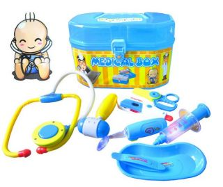 8 Piece Doctor Play Set Carry Case Medical Box Kit Kid Baby Boy Girl Toy
