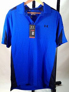 Under Armour Men's Performance Colorblock Golf Polo Blue Medium Loose Fit Mens