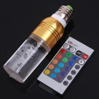Crystal LED Light Bulb RGB E27 Cyclinder Remote Control