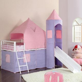 Children Kids Girls Fun Play Tent Castle Style Pink Purple Loft Bunk Twin Bed