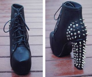 Women Lace Up Ankle Boots Studded Goth Punk Spike Rock Platform High Heel Shoes