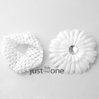 Baby Girl Crochet Headband Flower Hair Clip 10 Colors