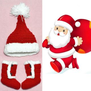 Baby Girl Boy Newborn Christmas Xmas Santa Cap Hat Shoes Crochet Set Clothes Red