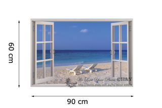 3D Beach Window View Removable Wall Art Stickers Vinyl Decal Home Decor Chairs
