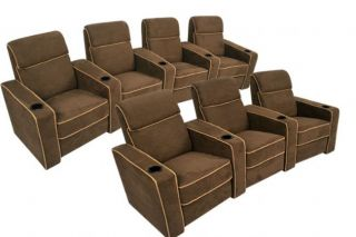 Lorenzo Home Theater Seating Brown Recliners 7 Chairs