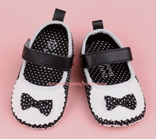 Infant Baby Girls Black White Mary Jane Bow Newborn Crib Shoes Size 0 3 Months