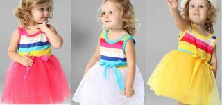 1pc New Baby Girls Toddlers Rainbow Tutu Top Skirt Party Dresses Outfit Clothes