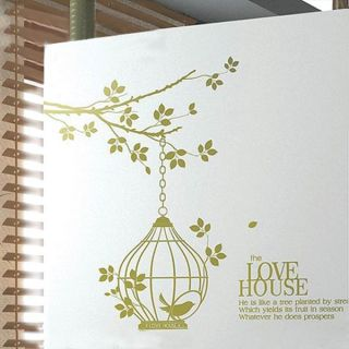 Love House Bird in Cage Wall Sticker Decal