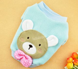 2 Colors Bear Bow Polar Fleece Sweater Clothes Dogs Cats Pet Costume XS s M L XL