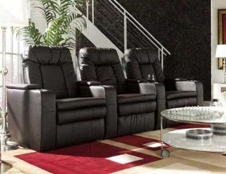 Seatcraft Bellagio Home Theater Seating 3 Seats Brown Power Chairs