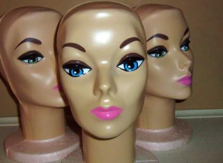 1 Vintage Mannequin Display Wig Hat Stand Foam Head 1960's Mod Barbie Bardot Blu