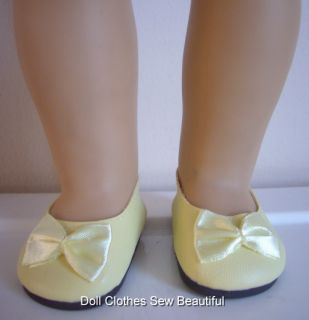 Doll Clothes Fit American Girl Yellow Ballet Flat Shoes