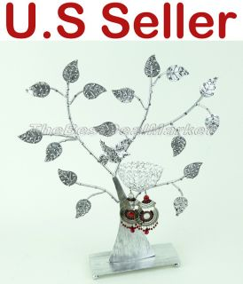 Earring Jewelry Display Stand Holder Metal Flower Tree w Bird Nest Silver 23081