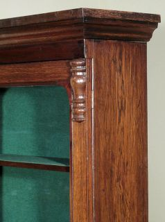 Antique English Solid Oak Victorian Bookcase Curio Display Cabinet c1880 B75