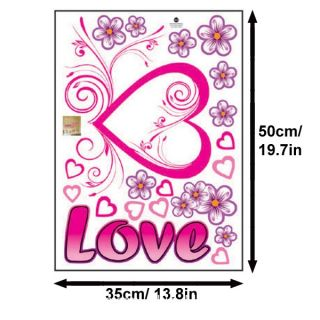 Pink Love Heart Purple Flowers Wall Sticker Decal