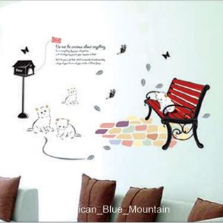 Relax Cat on Bench Sidewalk Wall Sticker Decal
