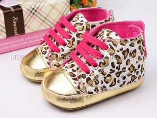 New Toddler Baby Girl Gold Leopard Tennis Shoes Size US 3 A838