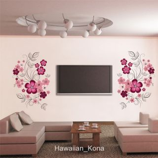 Pink Flowers Hanging Vines Wall Sticker Decal
