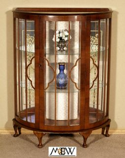 Antique English Walnut Demilune Curio Display Cabinet