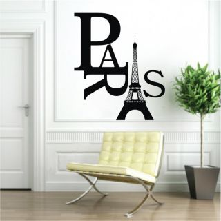 Paris Art Eiffel Tower Removable Wall Stickers Decals Quote Home Decor Vinyl