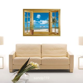 Beach View Wooden Window Removable Wall Sticker Decal
