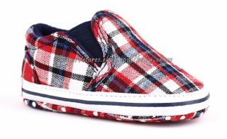 Toddler Baby Boy Crib Shoes Plaid Slip on Sneakers Size 0 6 6 12 12 18 Months