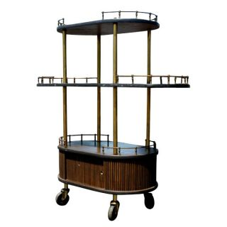 Vintage Hollywood Regency Cocktail Bar Cart Cabinet