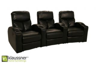 Klaussner Row of 3 Seats Home Theater Seating Chairs
