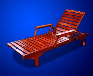 New Mtn Deluxe Wooden Oak Wood Sun Lounger with Armrest Drink Tray and Wheel