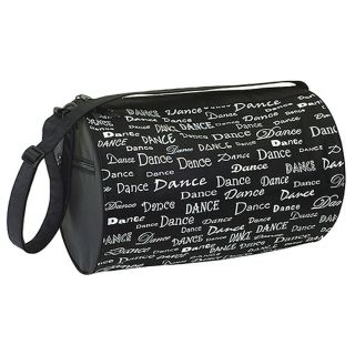 Danshuz Womens Girls Black White Dance Font Roll Duffel Bag