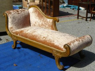 Antique Art Deco Nouveau Style Oak Chaise Lounge Crushed Velvet Upholstery