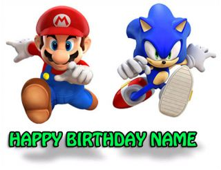 Super Mario Sonic Edible Image Cake Icing Topper A4