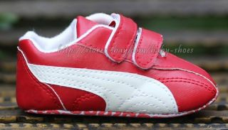 Toddler Baby Boy Girl Crib Shoes White Red Sneakers Size Newborn to 18 Months