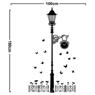 Clock Street Lamp Post Butterfly Removable Wall Sticker Decal