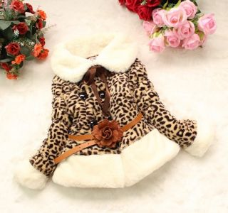 Hot Baby Girls Faux Fur Leopard Print Coat Kids Winter Warm Jacket Snowsuit 2 5Y