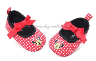 Baby Girls Red White Minnie Mouse Soft Sole Shoes Size Newborn to 18 Months