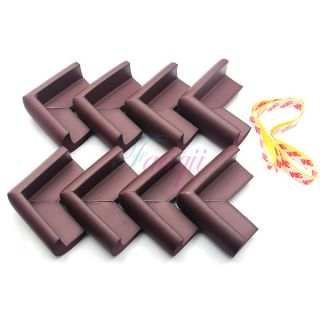 8x Soft Foam Baby Safe Protector Table Desk Corner Protective Guard Cover Brown