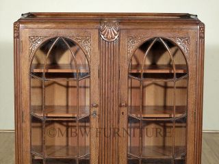 Antique English Oak Art Deco 3 5ft Bookcase Cabinet Display c1930's P94