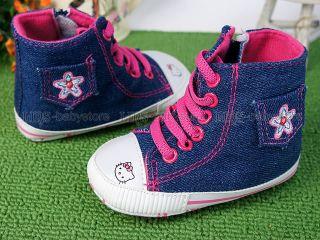 New Toddler Baby Girl Blue Kitty Cat High Top Shoes US Size 2 A958