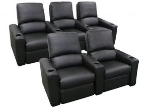 Eros Home Theater Seating 5 Black Seats Recliner Chairs