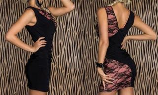 Womens Clothing Sexy Black Pink Lace Splice Party Dress incl Plus Sizes