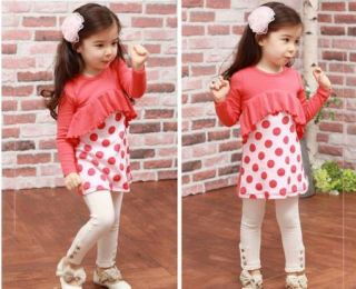 Baby Toddler Girls Kids Clothes 2 Piece Set Dress Top Leggings S2 7Y Outfit