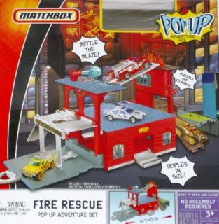 Matchbox Pop Up Fire Rescue Playset Fire Engine Truck
