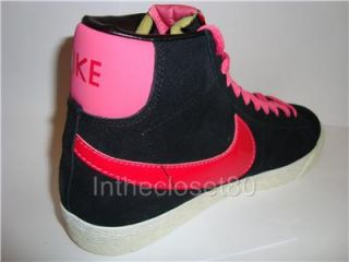New Genuine Nike Blazer Mid Vintage Hi Suede Womens Girls Trainer Black Pink Red