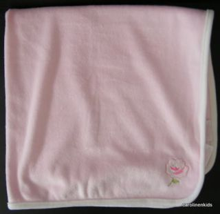 First Impressions Pink Rose Flower Baby Girl Security Blanket Cream Trim