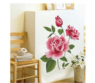 Charming 3D Love Rose Flower Removable PVC Wall Sticker Home Decor Room Decal