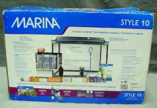 New Marina Deluxe Aquarium Kit Fish Tank 10 Gallon Light Filter Net Pet Habitat