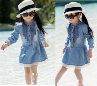 Girls Kids Baby Top Dress Jean Skirt 6 7Y Denim Cowboy Blue Flower Lace Clothing