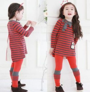 Girls Striped Top Shirt Dress Leggings Bow 2pcs Kids Clothes Sz 4 5Y Outfits Set